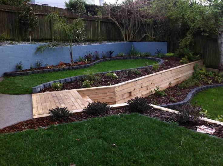 raised-planter-garden-timber-retaining-wall-and-steps-new-lawn-laid-landscaping-ideas