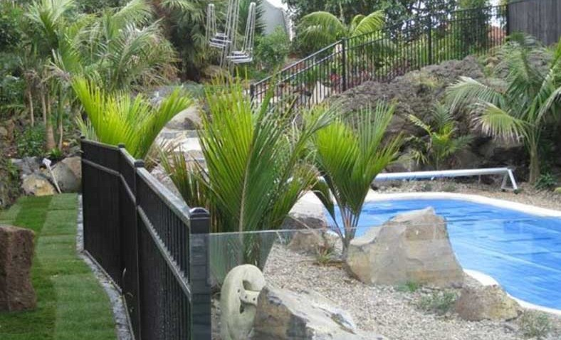 Swimming-Pool-landscape-with-Aluminium-and-Glass-Barrier