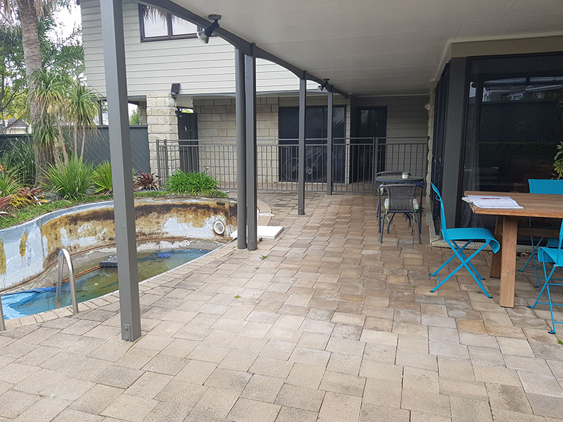 swimming pool landscaping before 4